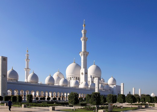 Stock Photo: 1566-814006 United Arab Emirates, Abu Dhabi, Sheikh Zayed bin Sultan al-Nahyan Mosque,