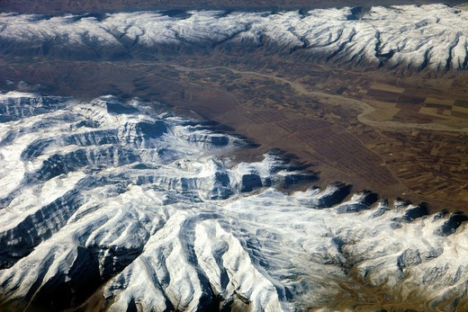 Iran, southern area, mountains, fields, aerial view, : Stock Photo