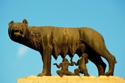 Stock Photo: 1566-814507 Italy, Lazio, Rome, Romulus, Remus, the she-wolf, statue,