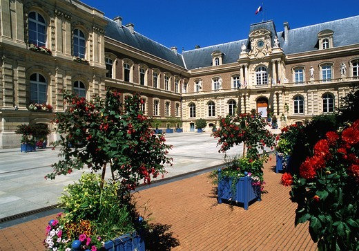 France, Picardie, Amiens, Town Hall, : Stock Photo
