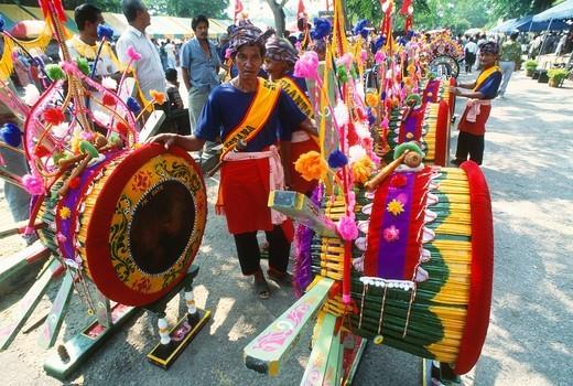 Malaysia, Kelantan, Kota Bharu, Rebana Ubi, drums, drummers, : Stock Photo