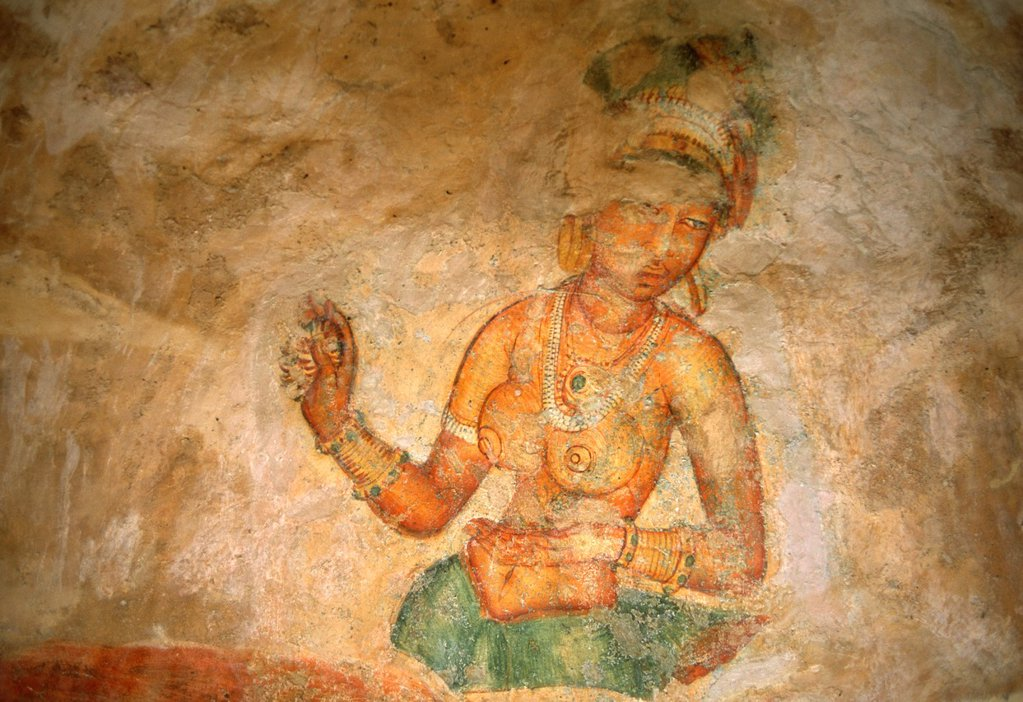 Stock Photo: 1566-815370 Sri Lanka, Sigiriya, frescoes, Sigiriya Damsels,