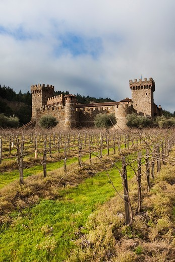 Stock Photo: 1566-816770 USA, California, Northern California, Napa Valley Wine Country, Calistoga, Castello Di Amoroso Winery, reproduction 12th century Italian castle, exterior
