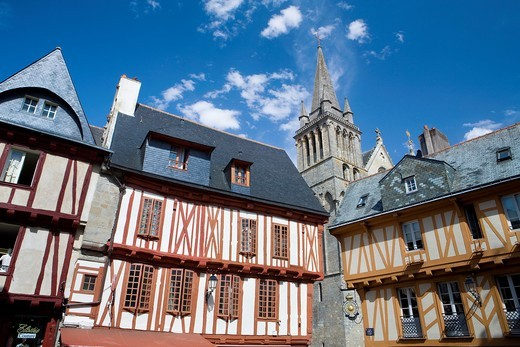 Typical houses with half-timbered in the medieval town of Vannes, Morbihan department, Brittany region, France : Stock Photo