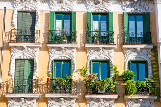 Modernist facade, close view. Cava de San Miguel, Madrid, Spain. : Stock Photo