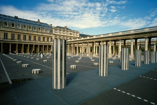 Stock Photo: 1566-818401 Paris  France  Daniel Buren´s sculpture ´Les Deux Plateaux´ in the courtyard of the Palais Royal  1st Arrondissement