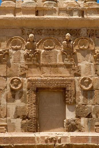 Midway between Garian and Wadi El-Hammam, Tripolitania, Libya - Mausoleum of Es Senama  Roman, prior to 3rd century A D : Stock Photo