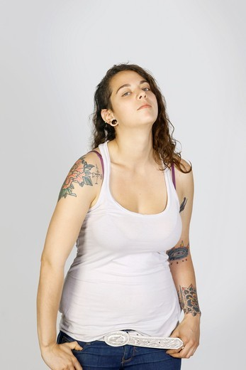 Studio shot of woman with tattoos : Stock Photo