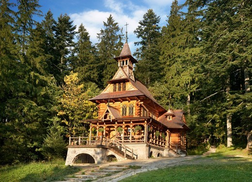 Jaszczurowka-antique wooden church in Zakopane, Podhale region, Poland, Europe, : Stock Photo
