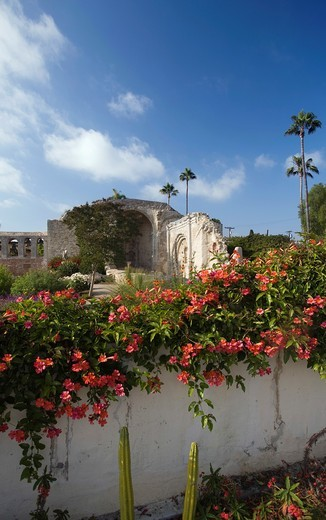 GARDEN WALL GREAT STONE CHURCH RUINS MISSION SAN JUAN CAPISTRANO ORANGE COUNTY CALIFORNIA USA : Stock Photo