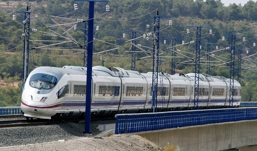 Stock Photo: 1566-820794 Spain, Catalonia, Lleida province, High Speed Train, AVE Serie 103 passing by the Vinaixa viaduct
