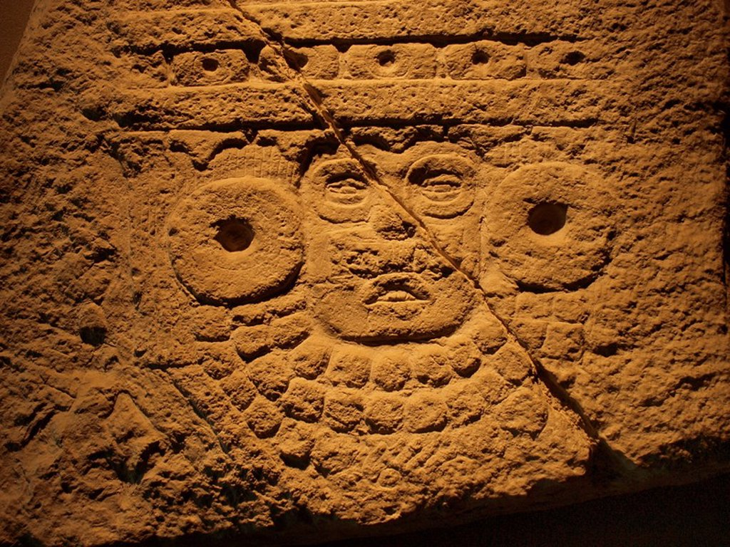 Stock Photo: 1566-821166 Tlaloc relief, Anthropology National Museum, Mexico City