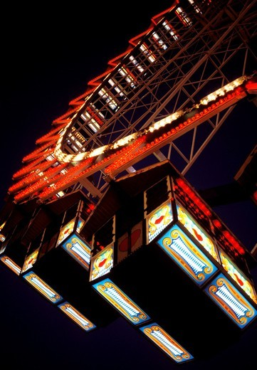 Gondolas of the Ferris Wheel at the Oktoberfest in Munich at Night : Stock Photo
