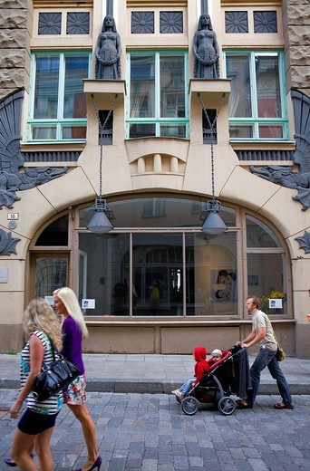 Facade of Draakoli gallery,in 18 Pikk street,Tallinn,Estonia : Stock Photo