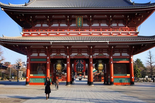 Stock Photo: 1566-822549 Senso-ji Temple, Hozo-mon Gate,Asakusa district,Tokyo, Japan, Asia