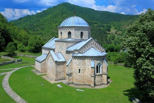 Annunciation church of Gradac Monastery c  1275, Raska district, Serbia : Stock Photo