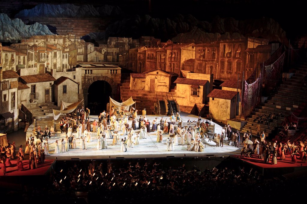 Carmen by Bizet, performance at Arena, Verona, Italy : Stock Photo