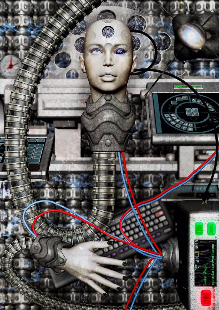 Stock Photo: 1566-823312 3d image of cyborg connected to internet