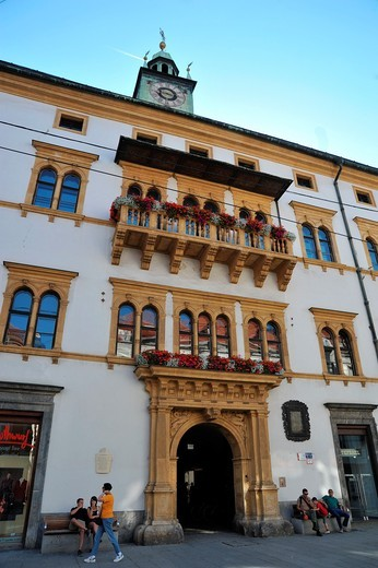 Stock Photo: 1566-823832 Front  Landhaus  Herrengasse Street  Graz  One of the most important central European buildings of the Reinassance  The main building was erected in 1557-1565 by the famous architect Domenico dell'Allio  Its features are its decorated and bowed Windows  C. Front  Landhaus  Herrengasse Street  Graz  One of the most important central European buildings of the Reinassance  The main building was erected in 1557-1565 by the famous architect Domenico dell'Allio  Its features are its decorated and bowe