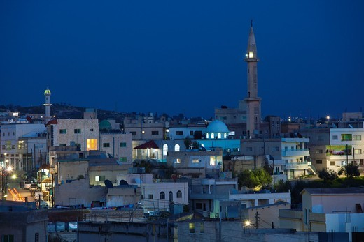 Stock Photo: 1566-825167 Jordan, Umm Qais-Gadara, the new town, dusk