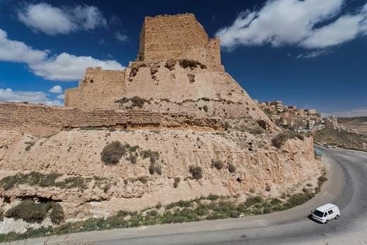 Jordan, Kings HIghway, Karak, Karak Crusader Castle, exterior : Stock Photo