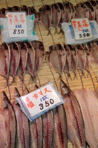 Japan, Tokyo, Tsukiji Fish Market, shopping, kanji, hiragana, characters, for sale, display, fresh, vendor, : Stock Photo