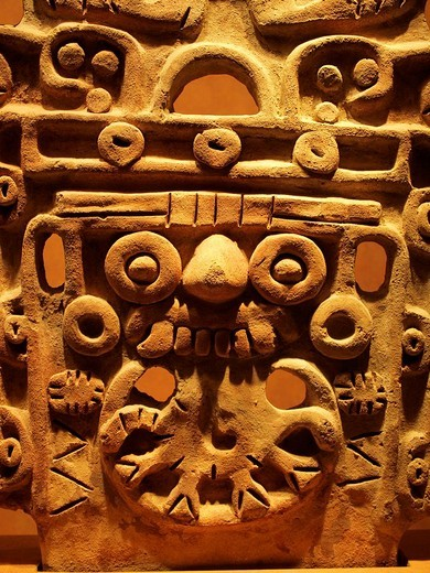 Stock Photo: 1566-825339 Tlaloc relief, Anthropology National Museum, Mexico City