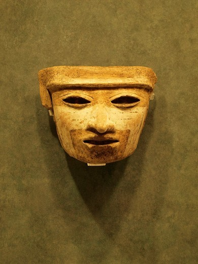 Stock Photo: 1566-825342 Zapotec mask, Anthropology National Museum, Mexico City