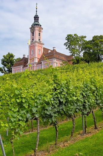 Stock Photo: 1566-825562 Birnau, Monastery Birnau, Birnau sanctuary, Marian pilgrimage church, Baden-Wuerttemberg, Germany, Lake constance, Bodensee, Europe.