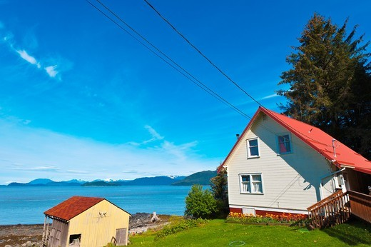 Stock Photo: 1566-825614 House next to the Petroglyph Beach, Wrangell, Southeast Alaska USA