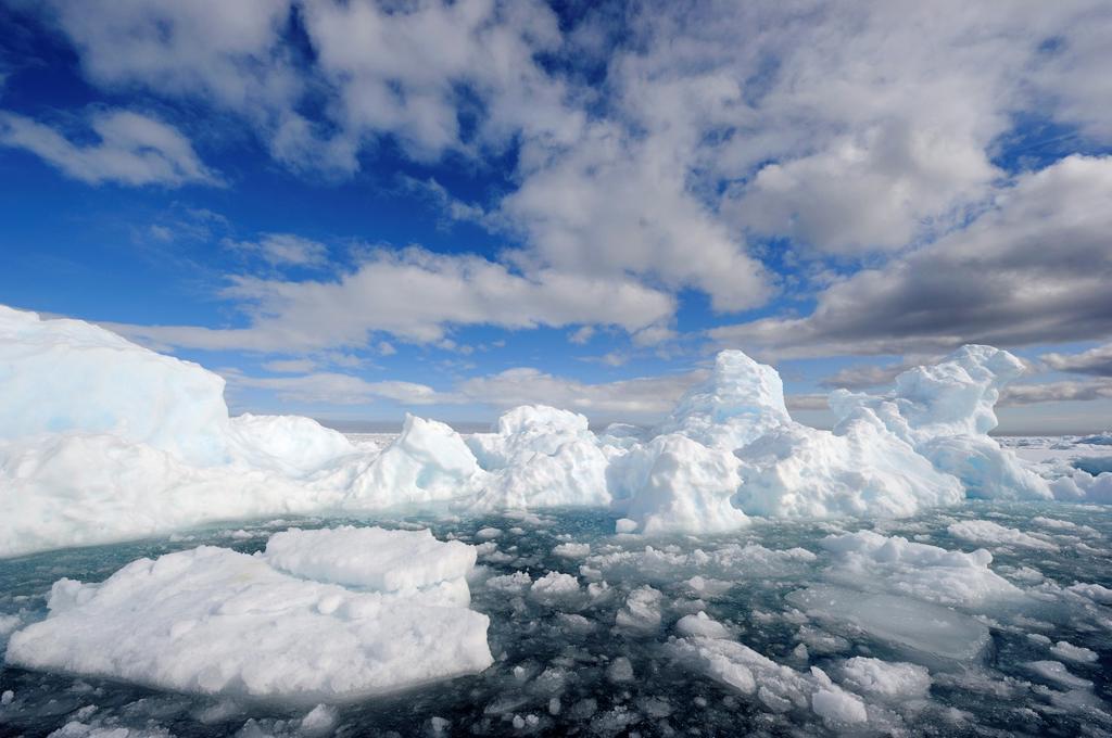 Melting ice, Floe Edge, Arctic Bay, Baffin Island, Nunavut, Canada : Stock Photo