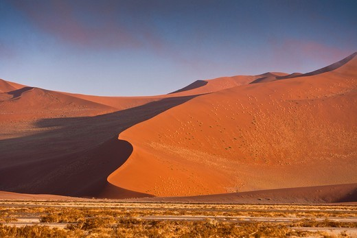The red dunes of the Sossusvlei at dawn, Namib Naukluft Park, Namibia, Africa : Stock Photo