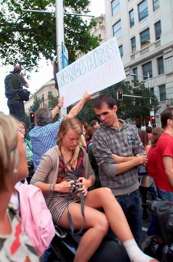Stock Photo: 1566-826211 -Indignants Movement 15M- Barcelona (Spain).