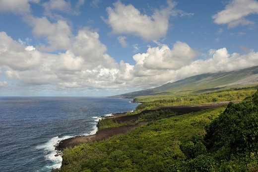 the coast named ´Le Grand Brule´ on the Southeast part of Reunion island, overseas departement of France, Indian Ocean : Stock Photo