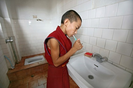 Tibetan Monk in Nepal : Stock Photo