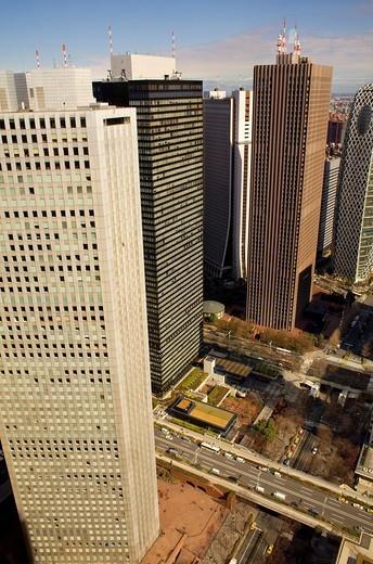 Stock Photo: 1566-826764 Skyscrapers in Nishi Shinjuku,Shinjuku district, Tokyo, Japan,Asia