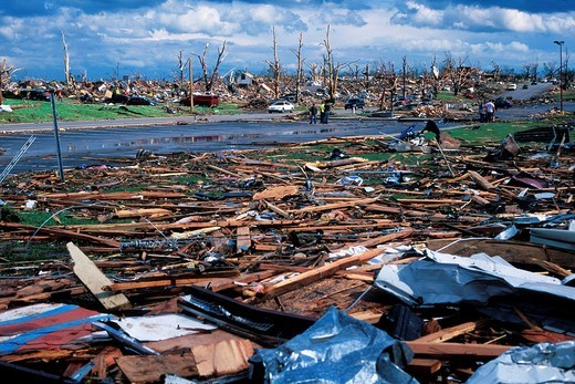 A field of debris near the destroyed high school in Joplin, Missouri, May 25, 2011  On May 22, 2011, Joplin Missouri was devastated by an EF-5 tornado : Stock Photo