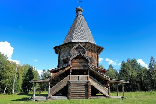 St  George wooden church from Vershina 1672, open air wooden architecture museum, Malye Korely, near Archangelsk, Archangelsk Arkhangelsk region, Russia : Stock Photo