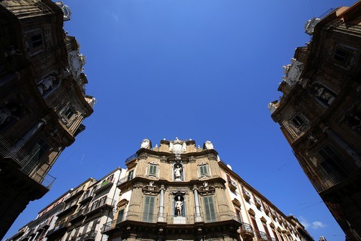 Quattro Canti or Vigliena square, Palermo, Italy : Stock Photo
