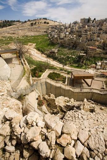 Stock Photo: 1566-827265 City of David, (archaeological site. On background Mount of Olives, Jerusalem, Israel, Middle East.
