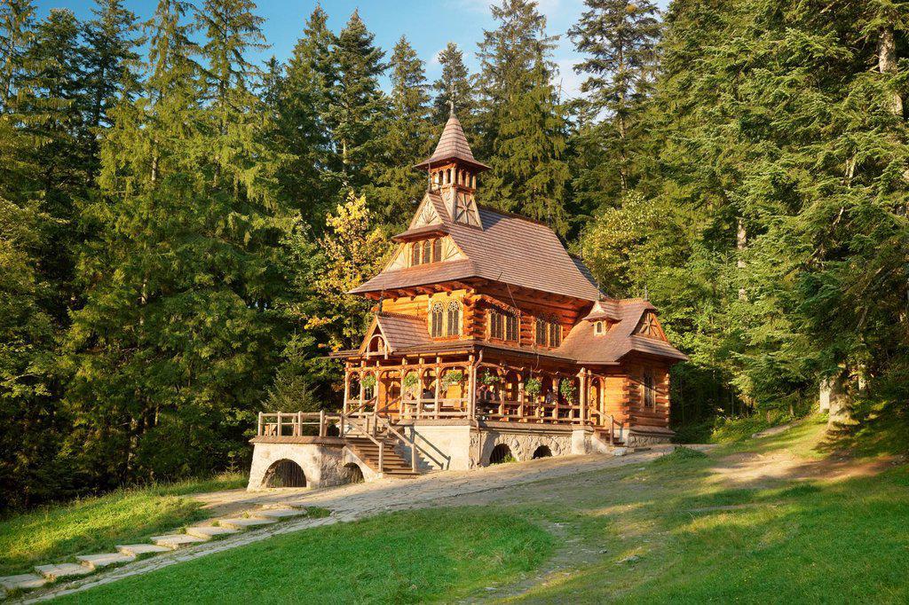Stock Photo: 1566-827783 Jaszczurowka-antique wooden church in Zakopane, Podhale region, Poland, Europe
