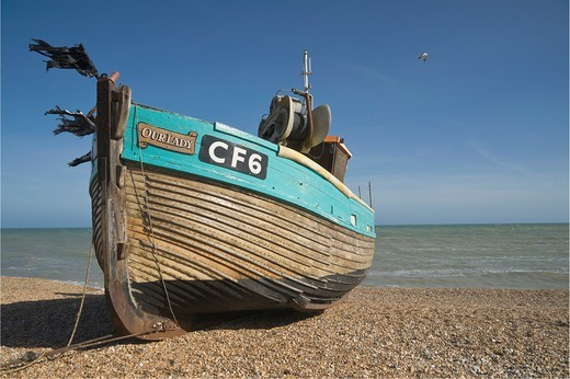 Fishing boat on the beach, known as the Stade, Hastings, East Sussex, England, UK : Stock Photo