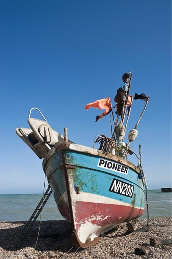 Stock Photo: 1566-828178 Fishing boat on the beach, known as the Stade, Hastings, East Sussex, England, UK