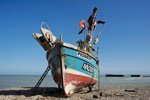 Stock Photo: 1566-828179 Fishing boat on the beach, known as the Stade, Hastings, East Sussex, England, UK