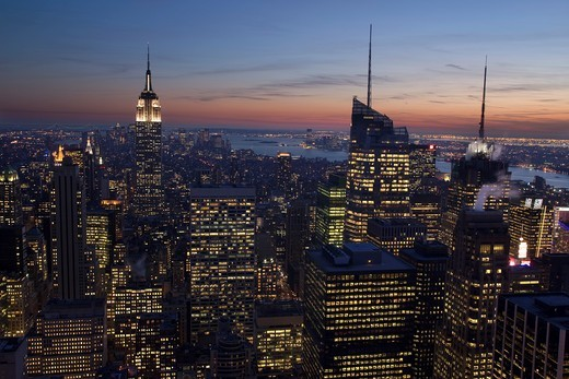 MIDTOWN SKYLINE MANHATTAN NEW YORK CITY USA : Stock Photo