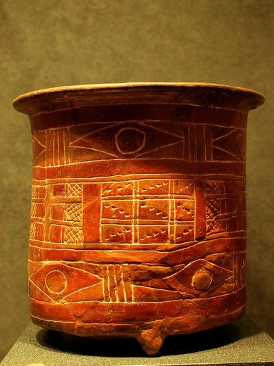 Stock Photo: 1566-829626 Teotihuacan vessel, Anthropology National Museum, Mexico City