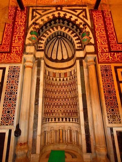 Mihrab, Khanqa & Mosque of Baybars Al Jashankir, Islamic Quarter, Cairo, Egypt : Stock Photo