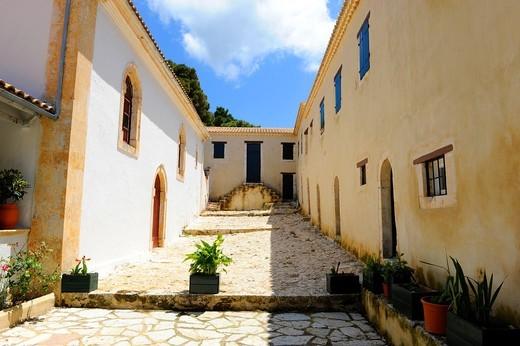 Stock Photo: 1566-829703 Monastery Agios Georgios Gremon Volimes Anafotiria Zakynthos Greece Ionian Sea Mediterranean Island