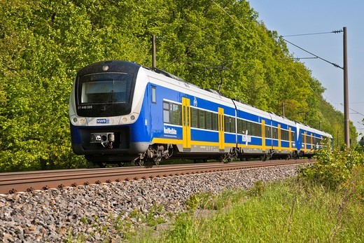 Stock Photo: 1566-830403 Approaching regional train of the Nordwest Bahn, Germany, Europe