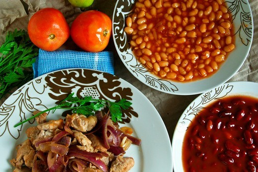 Arabic food, meat, Cooked Kidney Beans : Stock Photo